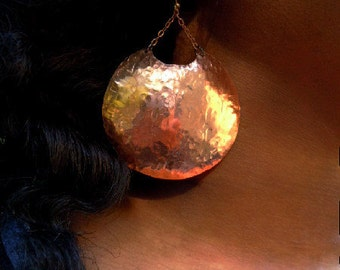 Large Statement Earrings / Handmade Copper Discs / Geometric /  Boho Chic Indie Designer Jewelry