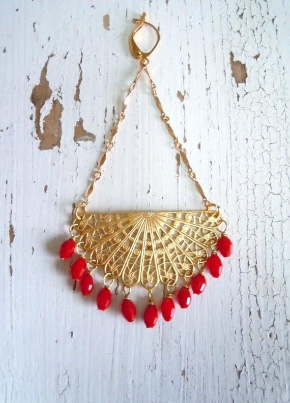 Last pair of ...Ruby Red Exoctic Shoulder Duster Earrings - Brass Boho Gypsy Earrings