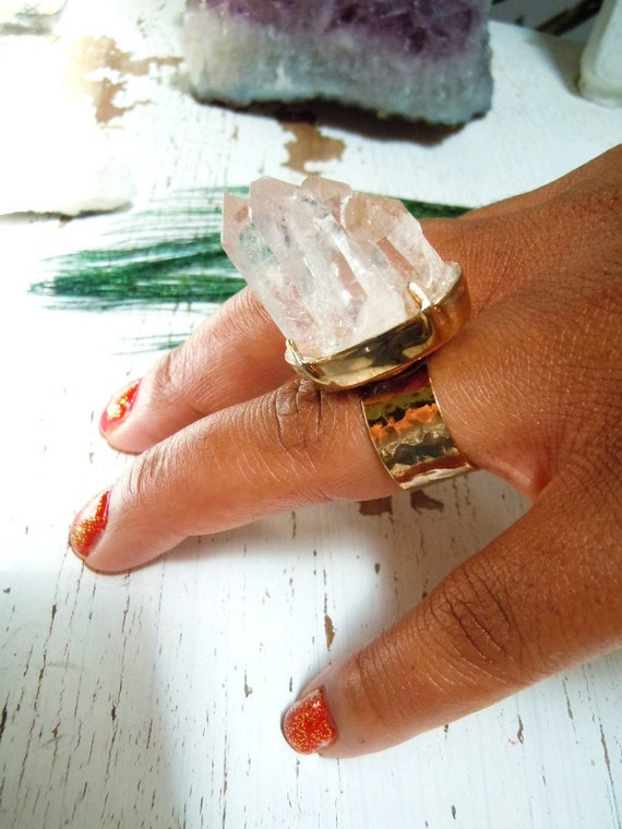 Raw Crystal Quartz Cluster Ring - Clear Crystal Points - Boho Chic