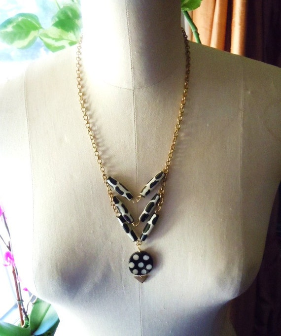 Tribal Necklace- African Carved Batik Bone - Chevron Bib Necklace