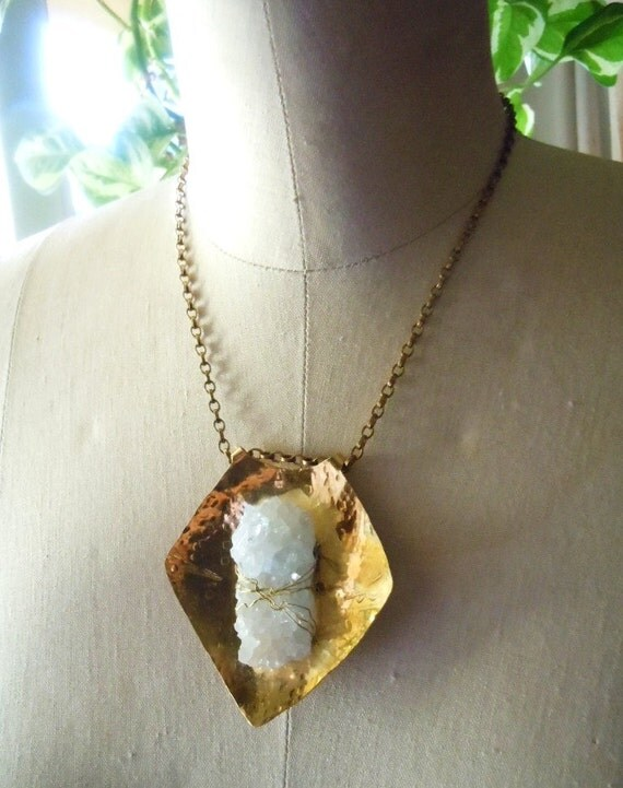 Raw Crystal Necklace- Handcrafted Brass Shield Necklace - Fashion Jewelry - Boho