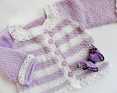 New -  Handmade, Soft and beautiful baby cardigan in  white and purple with crocheted lace - Ready to Ship