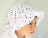 Crocheted summer, children / baby hat in white christening girl fashion, CUSTOM