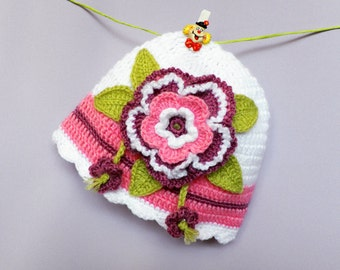 Discount ! Crochet baby hat, white baby hat,beanie baby hat, hat   with flower, spring-autumn baby hat,  newborn hat, READY TO SHIP