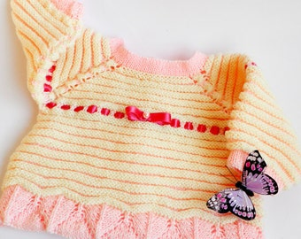 SALE 25 % OFF Hand knit sweater, knitted baby sweater, pink baby sweater, handknitted baby clothing, baby girl sweater, 3 to 6 months baby