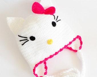 Crochet baby hat, Hello Kitty baby hat, White baby hat, Baby hat, Baby girl hat