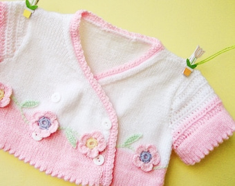 Sale- Hand-knitted  children  bolero in white and pink with crocheted sleeves, Spring-Summer,girl fashion, READY TO SHIP