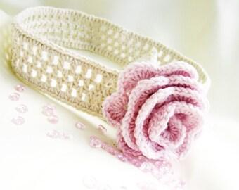 Crocheted baby headband, children headband,  cotton headband,  beige headband, pink rose, CUSTOM