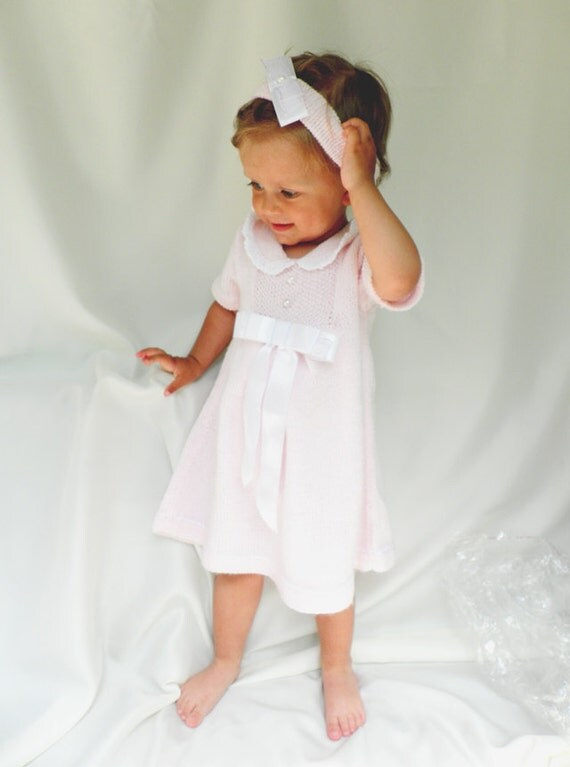 Hand knitted baby / children dress in soft pink with short sleeves and gift headband,  girls fashion READY TO SHIP