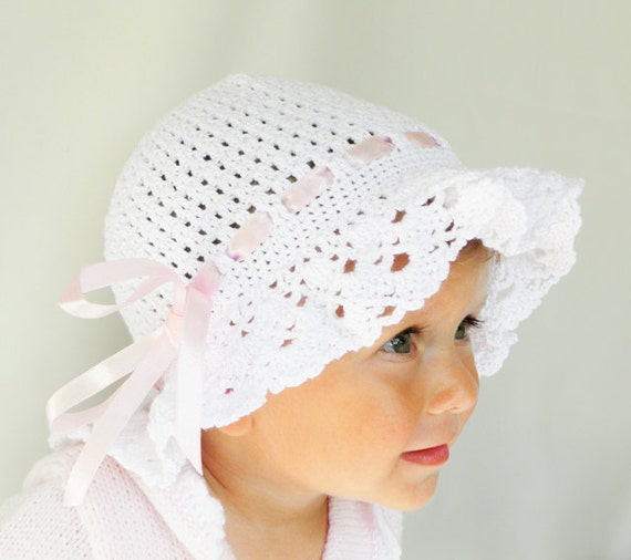 Crocheted summer, children / baby hat in white christening girl fashion, CUSTOM