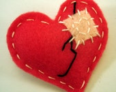 Heart Felt Brooch - Mended Broken Heart Felt Brooch/Pin - Pink
