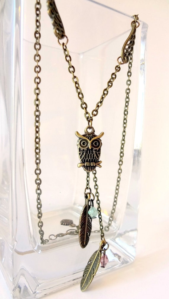 Owl and Feathers Necklace - Antique Bronze colored Necklace with Owl and Feathers pendants with green and pink beads