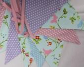 Fabric bunting, shabby chic bunting, Baby Bunting, flag Garland, Aqua, Lilac, Pink, Pennant Banner, Baby Shower, Wedding, Birthday Bunting
