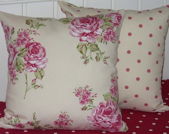 Cushion Covers, Pillow covers, cottage chic, Polka Dots, Cream and Pink Roses, 16 Inch Pillow Covers, Cream Dotty Reverse