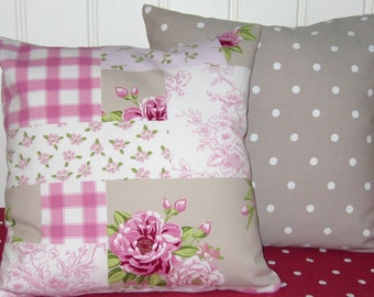 """Cottage Chic Cushion Covers, 16"""" Pillow Covers, Taupe Patchwork print, fabric backed with Dotty fabric"""