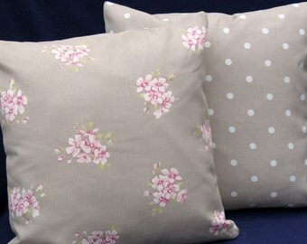 Taupe Shabby Chic Style   2 x 16 inch  Pillow Cushion Covers Floral fabric backed with co-ordinating Taupe Dotty fabric
