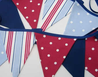 Nautical Bunting, Nautical  Pennant Banner , Double Sided,  Fabric Bunting, Red White Blue, Seaside Pennants, Select number of Flags