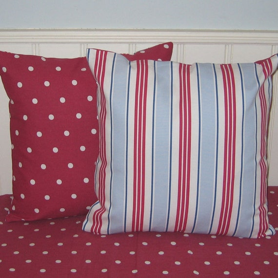 Nautical Pillow Covers, Nautical Style Cushion Covers, Red White and Blue, Nautical Stripe on Red Dotty 16 x 16 Decorative Pillow Covers