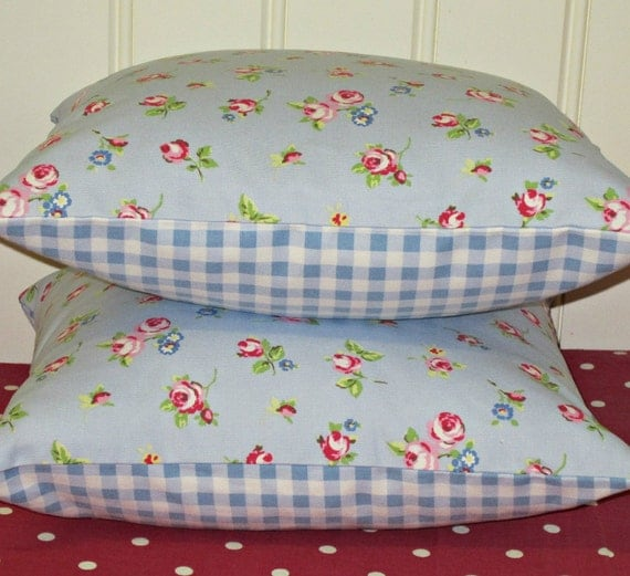 2 Pillow Cushion Covers 16 inch  Blue Shabby Chic Style  Rosebud Design backed with Pale Blue Gingham Print