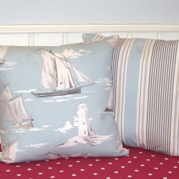 Two Pillow Slips Cushion Covers  Duckegg Nautical Style Boats Lighthouses on ticking stripe fabric.