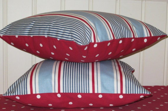 Nautical Cushion Covers, 16 inch Nautical Pillow Covers, Blue Striped and Red Dotty, Seaside Chic Set of Two