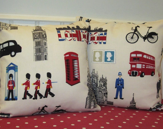 Set of Two London Themed Cushion Cover, Decorative Pillow Cover, Red Cream and Blue 16 x 16 inch Britania Print on Front and Back