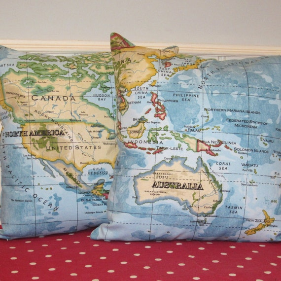 Two Pillow Cushion Covers Atlas World Map Fabric Blue on Front and Back.