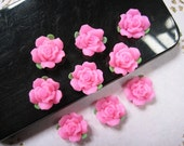 6pcs Pretty polymer clay Flower with leaves Cabochon (12mm) Pink