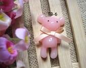 Pretty Teddy bear with fabric bow cabochon (56mmx37mm) TB-6