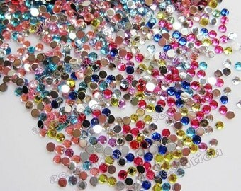 500pcs flatback faceted round rhinestone mix colors (3mm)