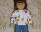 American girl doll clothes back to school jeans and balloon top
