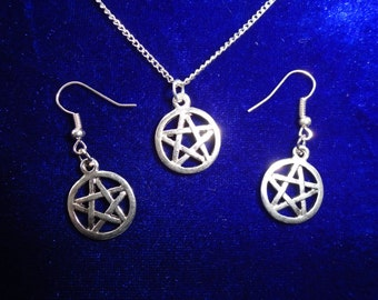 Pentagram Earrings and Necklace set