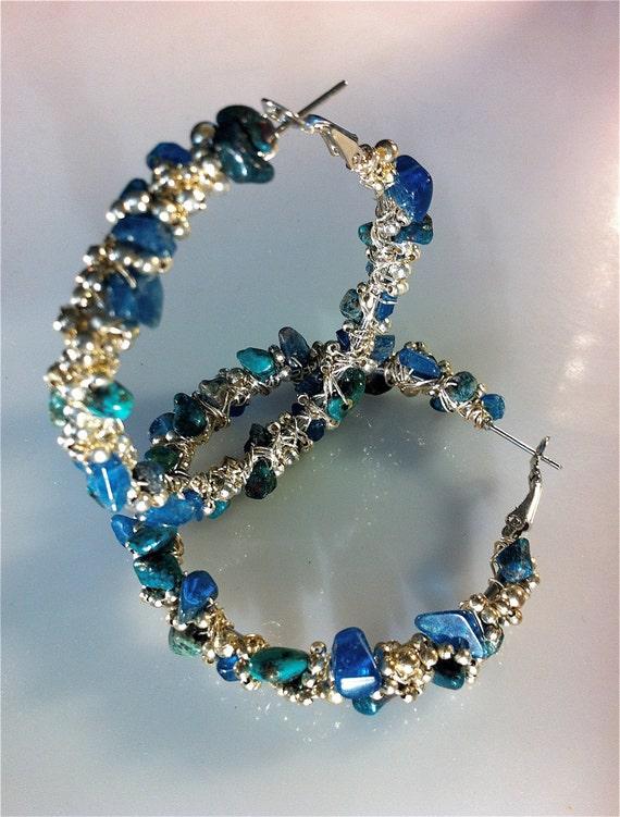 Natural Turquoise and Kyanite Hoop Earrings