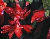 Original Christmas Cactus acrylic painting 8x10