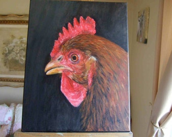 Profile Portrait of the Cockerel 11x14 Original Acrylic Painting