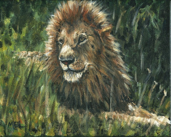 Wise Lion Original Painting 8 x 10 by Melloizes