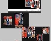 Black n White 8 x 8 layflat album template-Templates for photographers