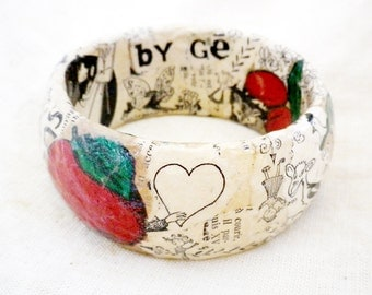 Holiday. Easter. Love. Heart. Recycled Jewelry. Ecofriendly. Woodland. Birds. French Red Paper Bracelet FRUITY WHIM