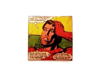 Holiday. Summer Gift. Dad's day gift. Comics. Spiderman. Love. Recycled. Vintage. Paper Spindle. SPIDERMAN State of Soul...