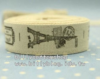 V127 - cotton tape/ sewing tape/ Ribbon - cotton - Eiffel tower