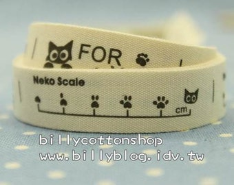 V139 - cotton tape/ sewing tape/ Ribbon - cotton - cute cat