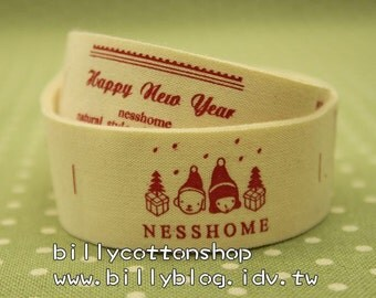 V173 - cotton tape/ sewing tape/ Ribbon - cotton - happy new year
