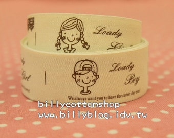 V499 - cotton tape/ sewing tape/ Ribbon - cotton - boy and girl