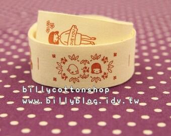 V535 - cotton tape/ sewing tape/ Ribbon - cotton - I love U
