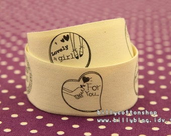 V542 - cotton tape/ sewing tape/ Ribbon - cotton - lovely girls