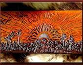 SUNSCAPE Design (without border) Beautifully Hand Tooled & Completely Hand Crafted Leather Guitar Strap
