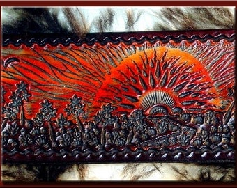 SUNSCAPE Design (with Border) • Beautifully Hand Tooled & Completely Hand Crafted Leather Guitar Strap