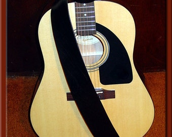 TRADITIONAL SOLID BLACK Leather Strap • A Beautifully Hand Dyed, Hand Crafted Leather Guitar Strap