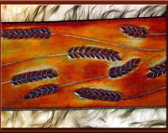 WHEAT Design • A Beautifully Hand Tooled, Hand Crafted Leather Guitar Strap