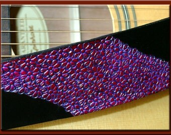 FLOWER GARDEN Design • A Beautifully Hand Tooled, Hand Crafted Leather Guitar Strap